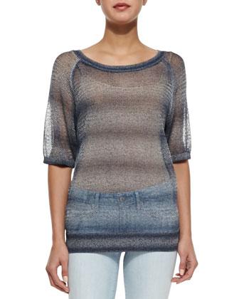 Metallic See-Through Knit Sweater