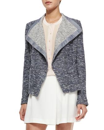 Draped Open Tweed Jacket