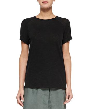 Cuffed-Sleeve Slub Knit Tee, Black