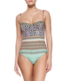 Mixed-Print Underwire One-Piece Swimsuit