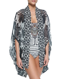 Open-Front Cardigan/Cape Coverup