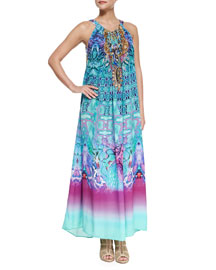 Printed Beaded Racerback Coverup Dress