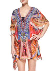 Short Lace-Up Caftan Coverup