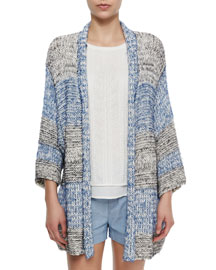 Long Textured Open Knit Cardigan