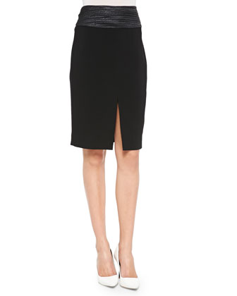 Front-Slit Woven Pencil Skirt