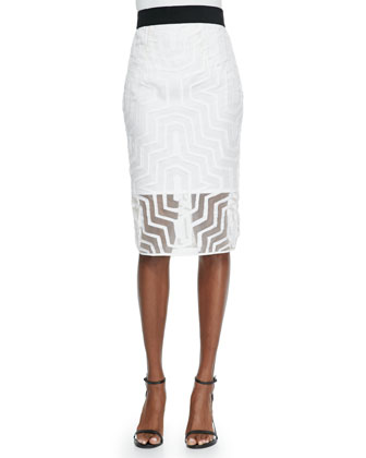 Fil Coupe Pencil Skirt, White