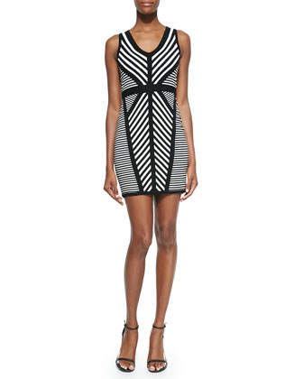 Directional Stripe Knit Sheath Dress
