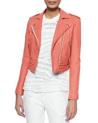 Zefir Cropped Leather Zip Jacket, Light Red