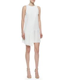 Sleeveless Dress with Asymmetric Pleated Hem
