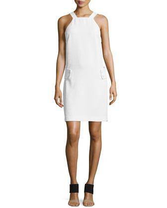 Deep V-Back Crepe Dress