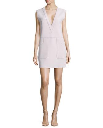 Raised-Seam Knit Sleeveless Dress