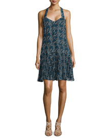Printed Pleated-Hem Silk Dress