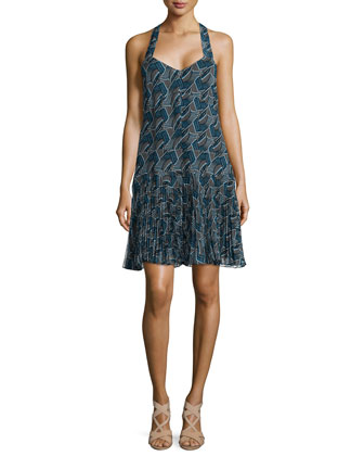Printed Pleated-Hem Silk Dress