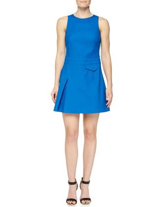 Side-Pleat Sleeveless Twill Dress