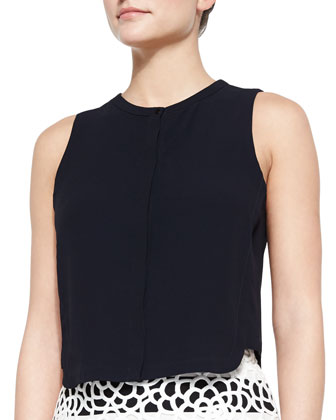 Gordon Cropped Sleeveless Crepe Top