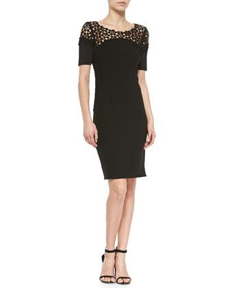 Suzie Sheath Dress W/ Lace Yoke