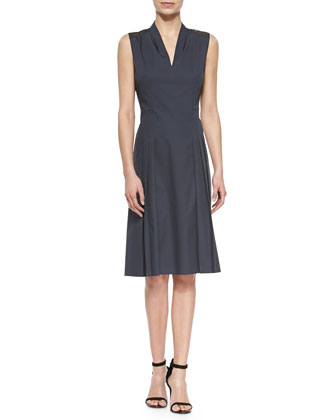 Jessy Pleated-Front Poplin Dress