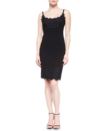 Olivette Lace-Trim Crepe Dress