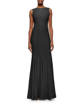 Evangelina Scoop-Back Lace Gown