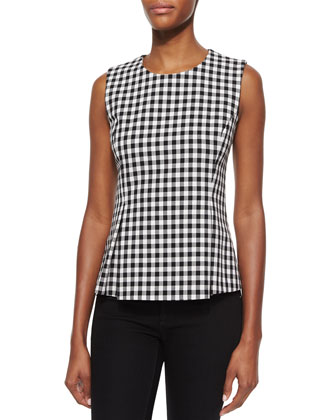 Mallorie Gingham-Check Top