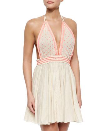 Bali Embroidered Linen Halter Dress