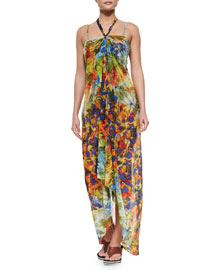 Painterly-Print Halter Coverup