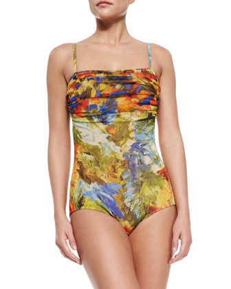Printed Ruched-Top One-Piece Swimsuit