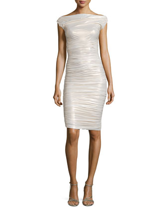 Shimmery Ruched Jersey Dress, Ivory