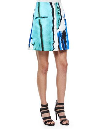 Doppio Front-Zip A-Line Skirt