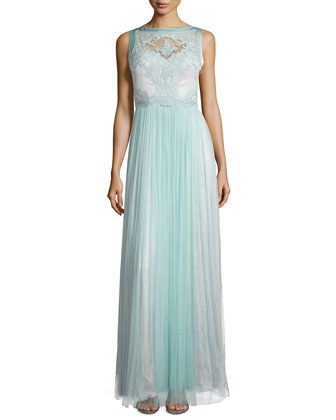 Sleeveless Lace Bodice Gown