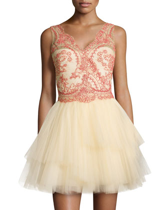 Sleeveless Tiered Tulle Skirt Cocktail Dress
