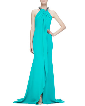 Beaded-Neck Toga Gown, Jade