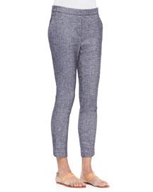 Thaniel Slim Cropped Chambray Pants