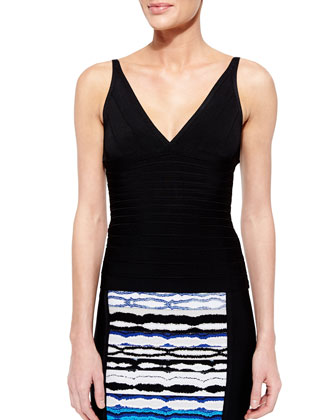 Signature Essential Sleeveless Bandage Top, Black