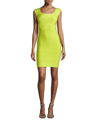 Elene Scoop-Neck Signature Sheath Dress, Electric Lime