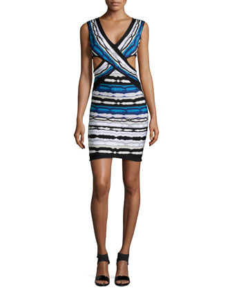 Neina Ripple-Striped Crisscross Dress, Pacific Blue Combo