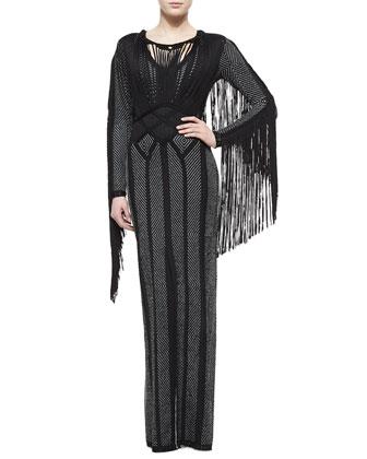 Lotus Fringe-Trimmed Chevron Dress