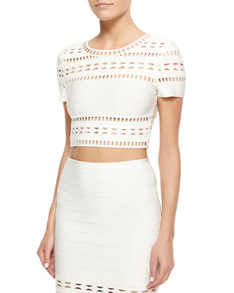 Gigi Cutout Crop Top, Alabaster