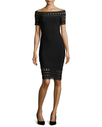 Carmen Embroidery-Cutout Bandage Dress, Black