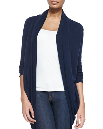 Draped Knit Open Cardigan