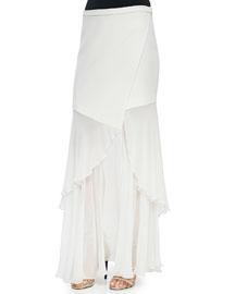 Sheer/Solid Wrap Skirt