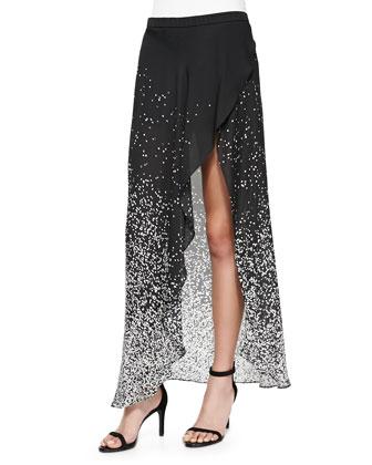 Printed High-Low Wrap Skirt