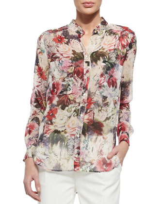 Draped Floral-Print Silk Blouse