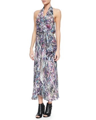 Abstract-Print Halter Wrap Dress, Swan/Multi
