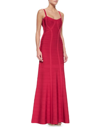 Beaded Lace-Up-Back Bandage Gown