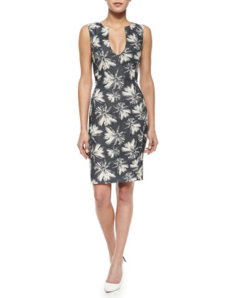 Sleeveless Palm Tree-Print Shift Dress, Linen Palm/Midnight