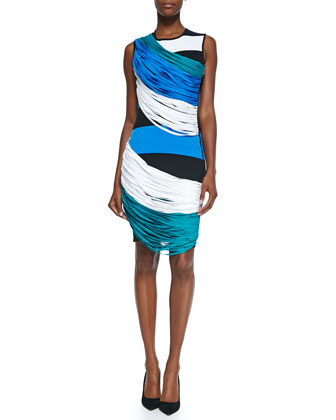Stretch-Knit Colorblock Fringe Dress, Blue/Black Combo