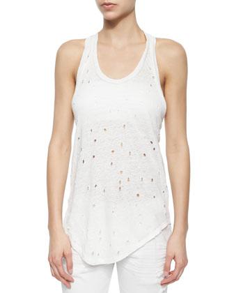 Doris Sleeveless Perforated Linen Top, Ecru