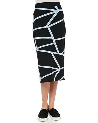 Intarsia Knit Geometric-Print Pencil Skirt, Black/Blue