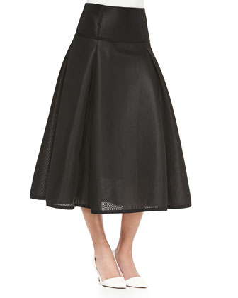 Textured Full Pleated Midi Skirt, Black